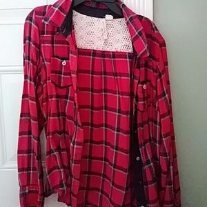 Red and dark blue flannel